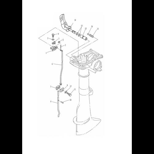 Yamaha/Parsun Buitenboordmotor F2.5/F2.6 Control Onderdelen