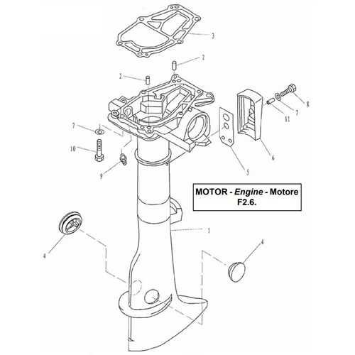 Yamaha/Parsun Buitenboordmotor F2.5/F2.6 Upper Casing Onderdelen