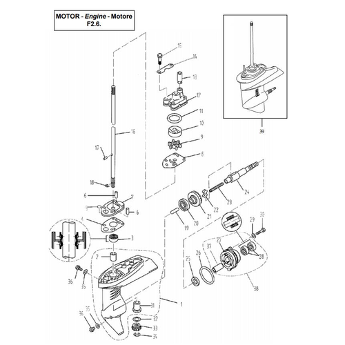 Yamaha / Parsun Outboard Engine F2.5 / F2.6 Lower Casing & Drive 1 Parts