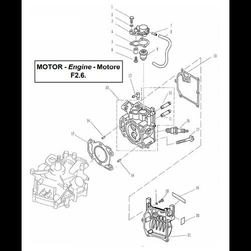 Yamaha/Parsun Buitenboordmotor F2.5/F2.6 Cylinder & Crankcase 1 Onderdelen