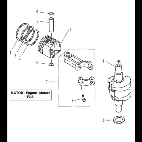 Yamaha/Parsun Buitenboordmotor F2.5/F2.6 Crankshaft & Piston Onderdelen