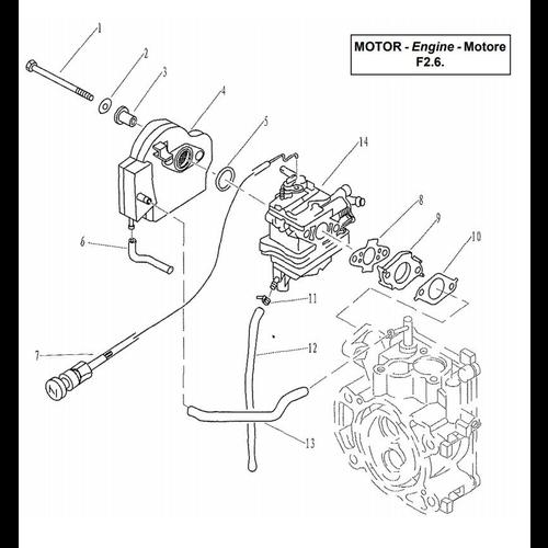 Yamaha/Parsun Buitenboordmotor F2.5/F2.6 Intake Onderdelen