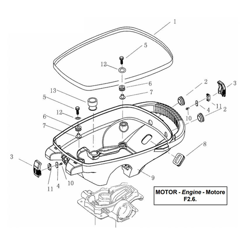 Yamaha/Parsun Buitenboordmotor F2.5/F2.6 Bottom Cowling Onderdelen