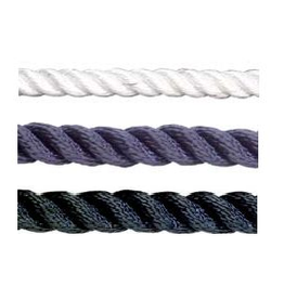 Poly ropes Anker touw 3 strengs wit/blauw/zwart Per meter