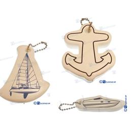 Golden Ship Drijvende sleutelhanger Anker, Speedboot of Zeilboot