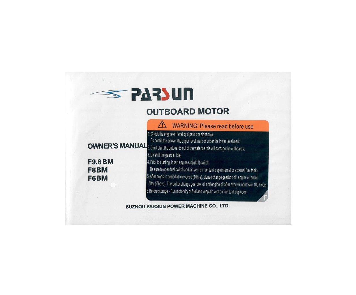 Yamaha/Parsun outboard F9.8BM/F8BM/F6BM owner's manual