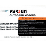 Yamaha/Parsun outboard F15A/F20A BM/BW/FW Owner's manual