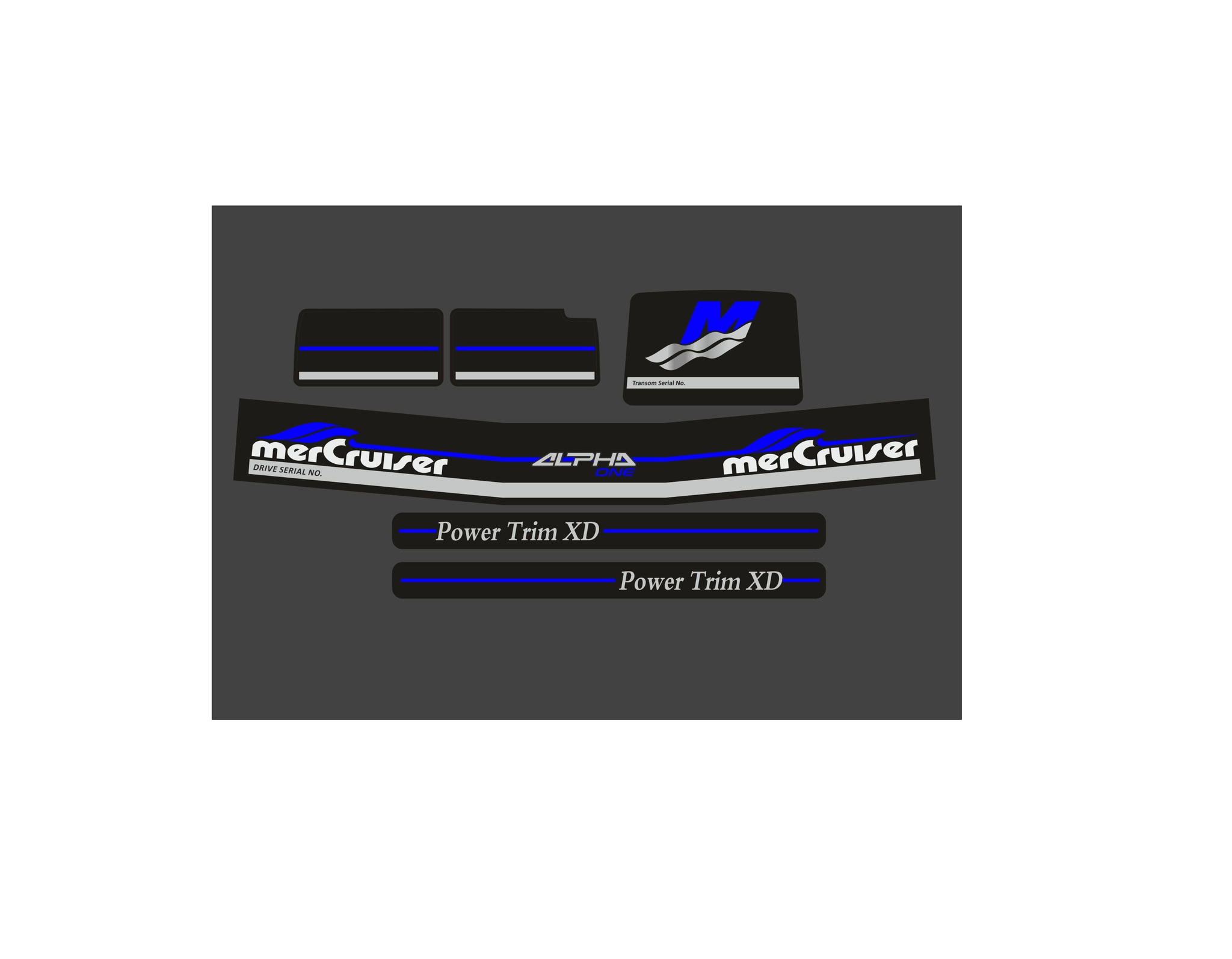 Mercury MerCruiser Alpha 1 gen 2 blauw Sticker set