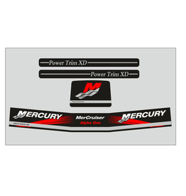 Mercury MerCruiser Alpha 1 gen 2 rood Sticker set