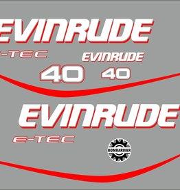 Evinrude e-tec 40 pk Sticker set