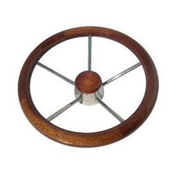 Golden Ship Stainless steel Steering Wheel in varnished mahogany wood (GS41119)