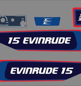 Johnson/Evinrude 15 PK bouwjaar 1976 sticker set