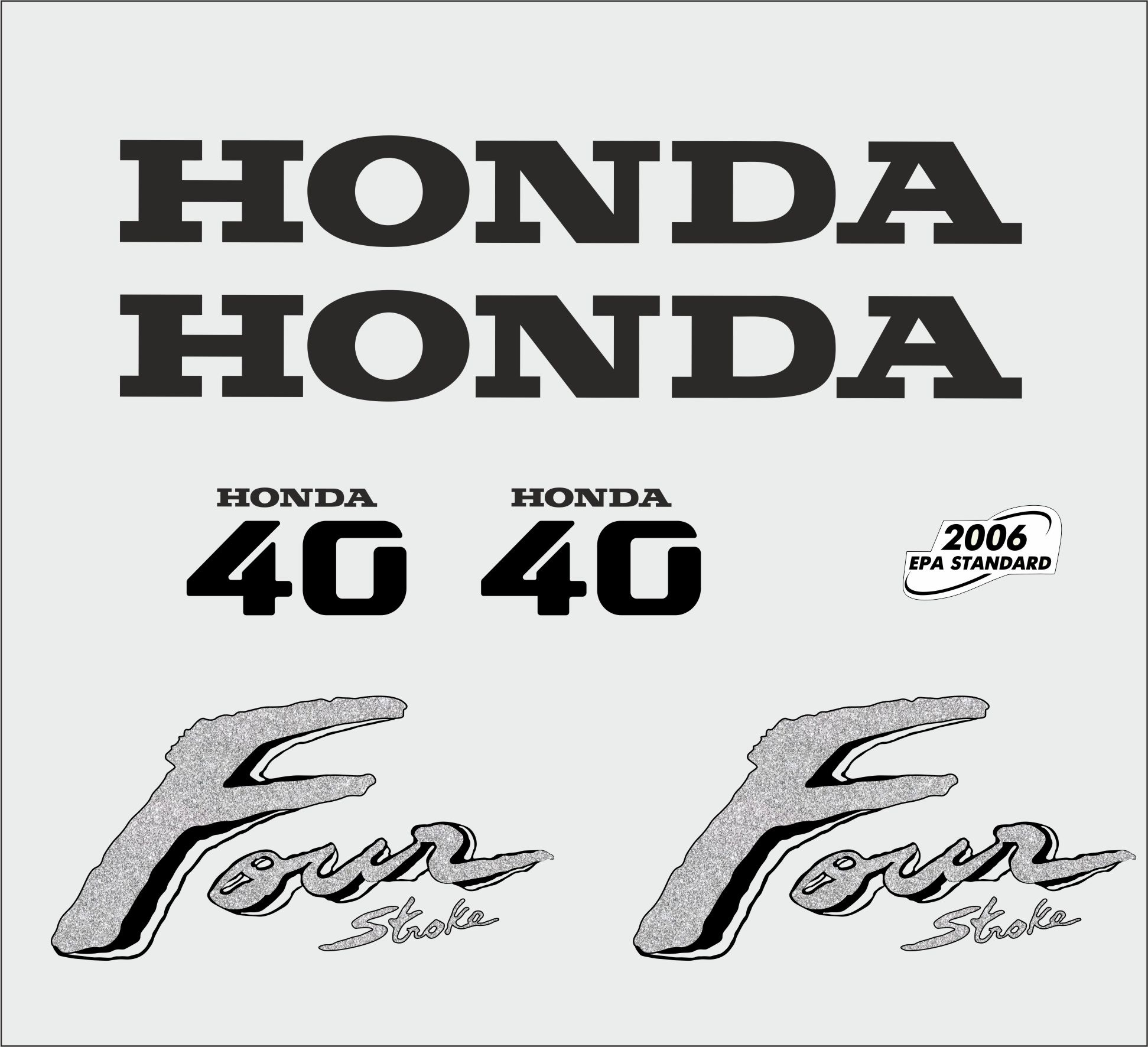 Honda 40 HP year range 2003 sticker set