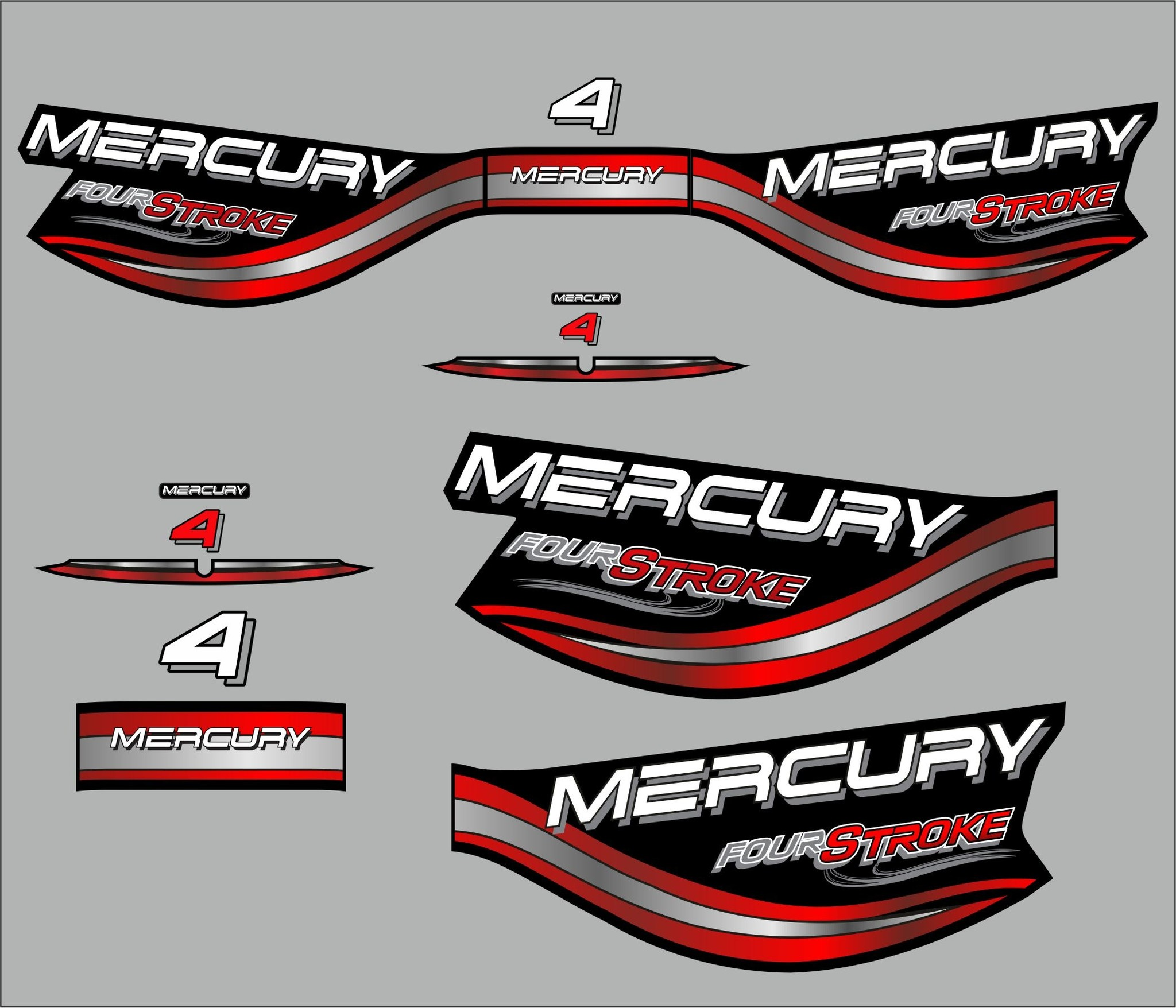 Mercury 4 PK fourstroke bouwjaar 1998 sticker set