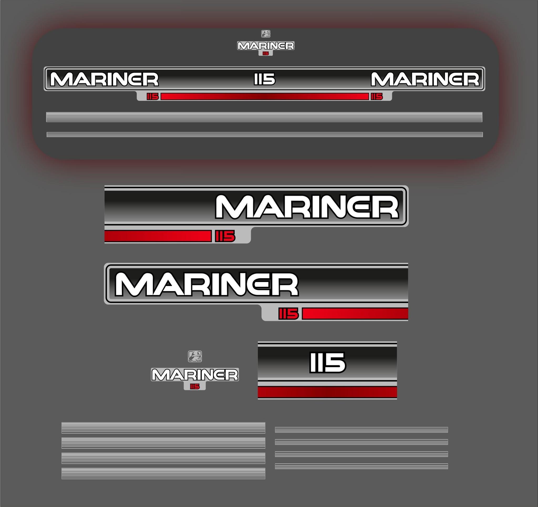Mariner 115 PK  bouwjaar 1988 sticker set