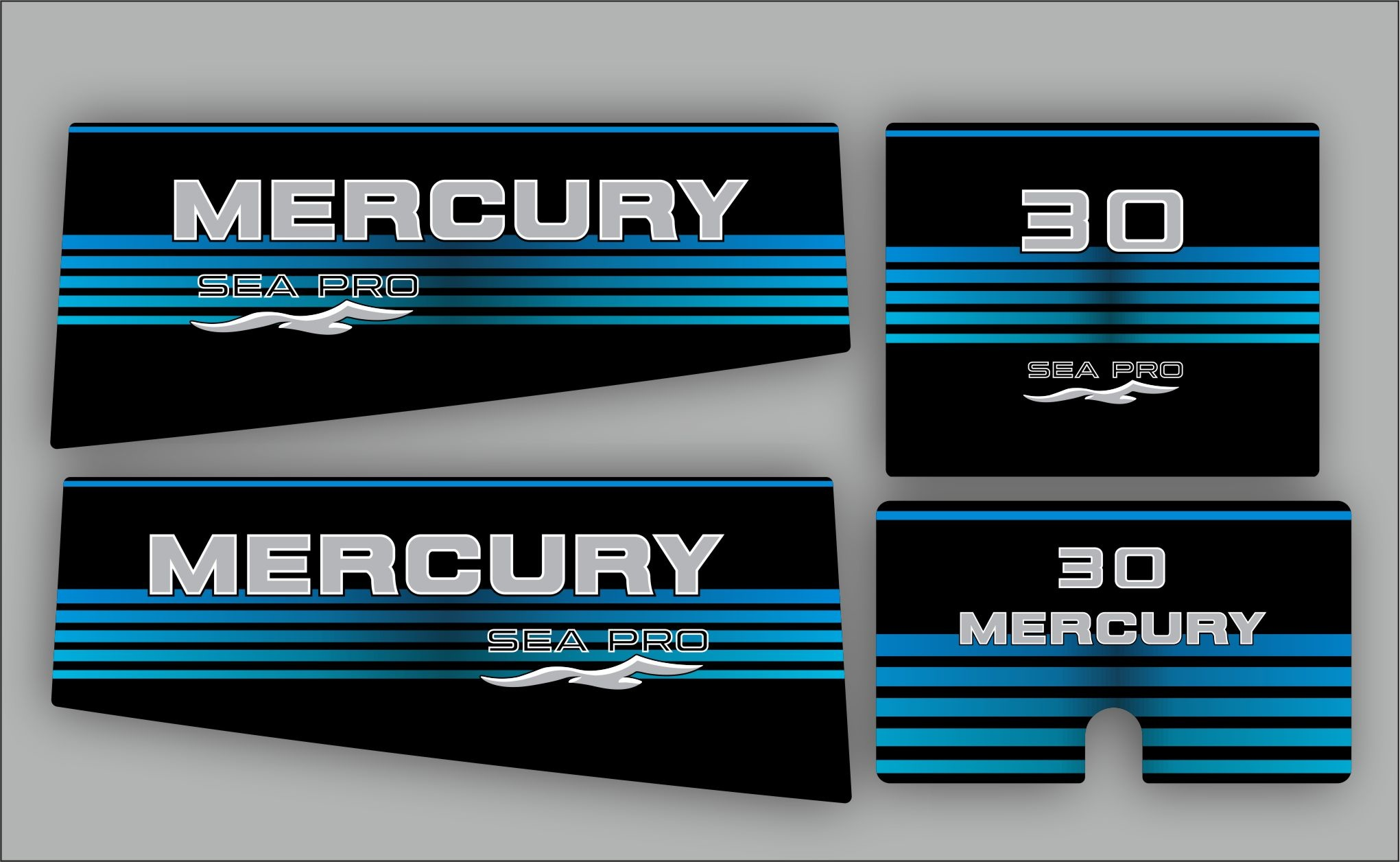 Mercury 30 HP Sea pro year range 1997 sticker set
