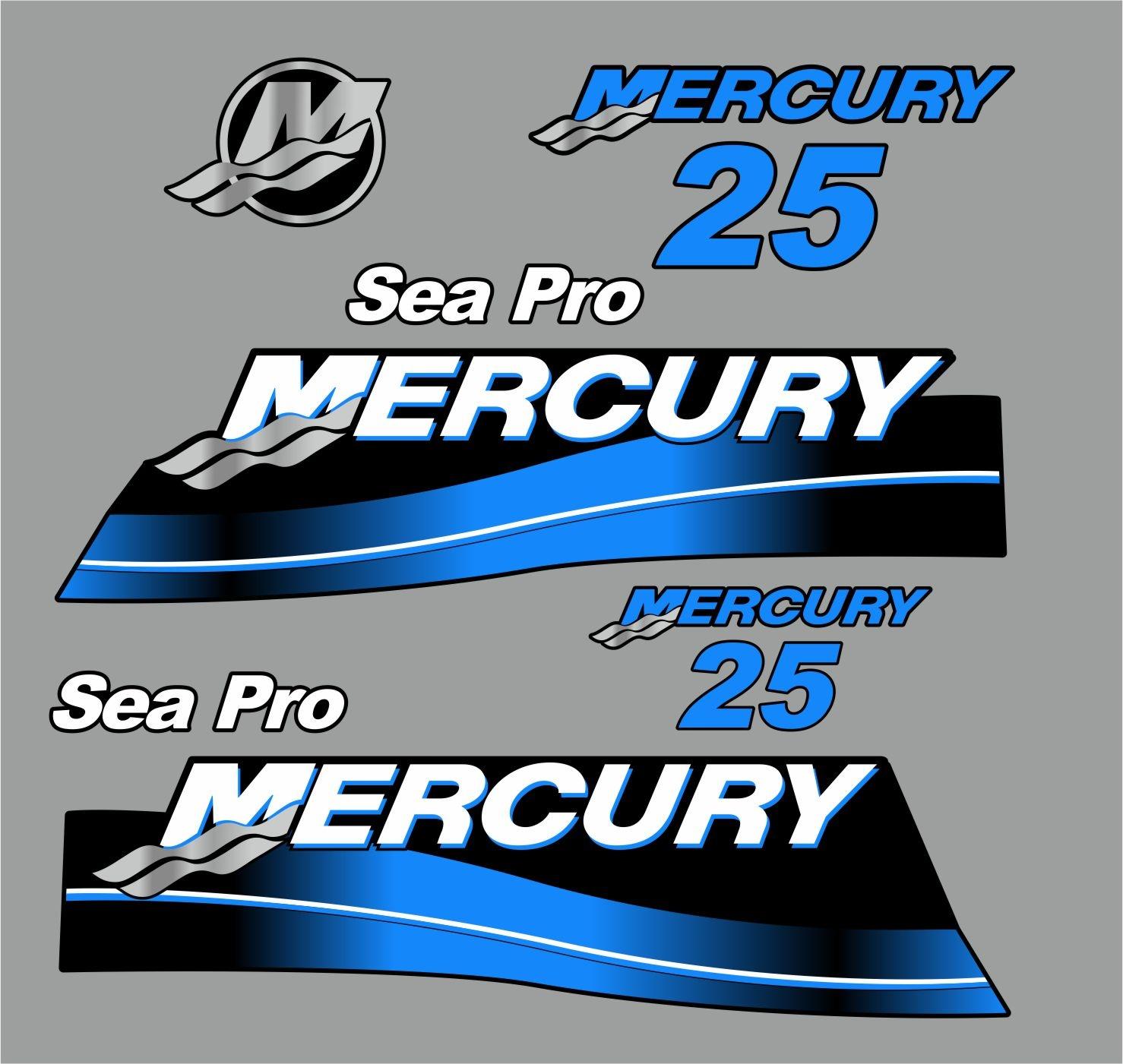 Mercury 25 PK Sea pro bouwjaar 2007 sticker set