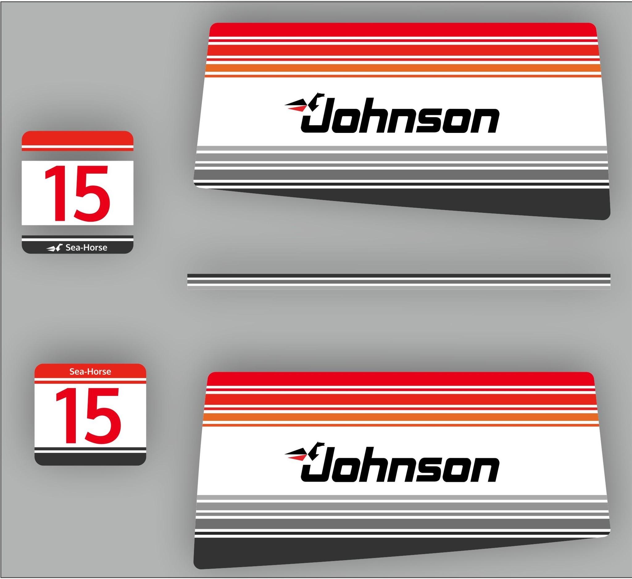 Johnson/Evinrude 15 PK  Sea Horse bouwjaar 1988 sticker set