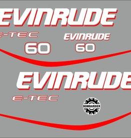 Evinrude e-tec 60 HP Sticker set