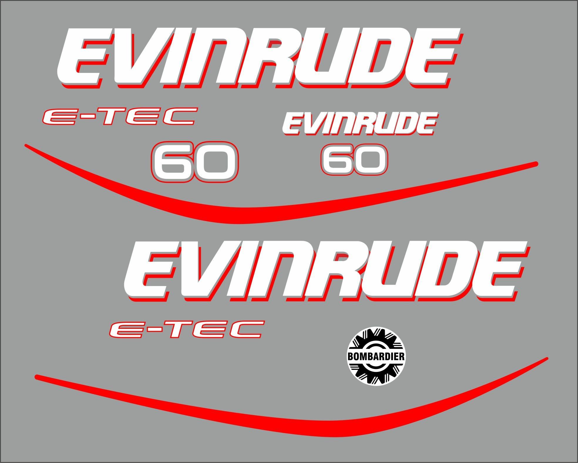 Evinrude e-tec 60 pk Sticker set