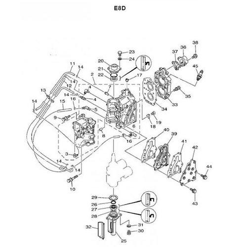 Yamaha / Mariner 6/8 B + E8D blok onderdelen