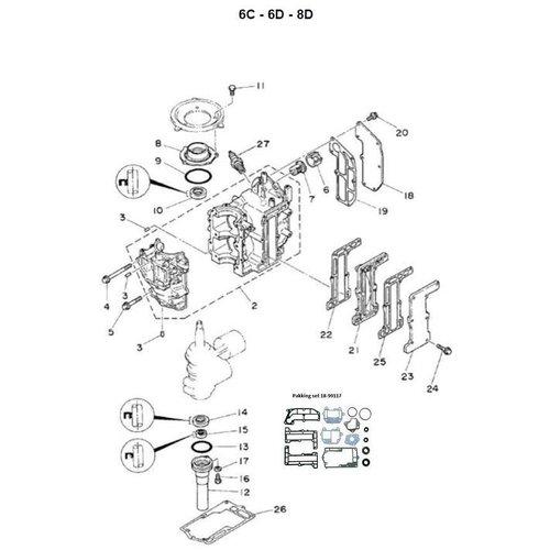 Yamaha + Mariner 6C / 8C - 6M / 8M - 6D / 8D - blok onderdelen