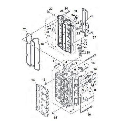 Yamaha F80 / F90 / F100 / F115 cilinder kop onderdelen
