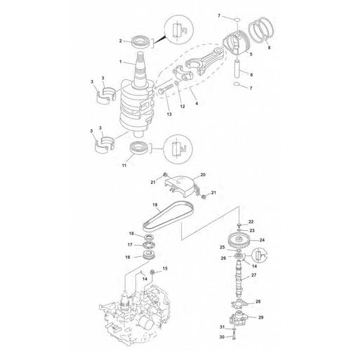 Yamaha / Mercury / Mariner  F9.9 / F15 ('99-'07) Crankshaft Parts