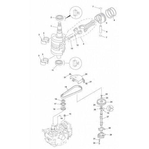 Yamaha / Mercury / Mariner F9.9 / F15 (99-07) krukas onderdelen