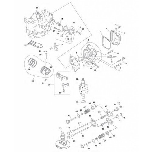 Yamaha F4 / F5 / F6 blok onderdelen (1) voor meer zie (2)