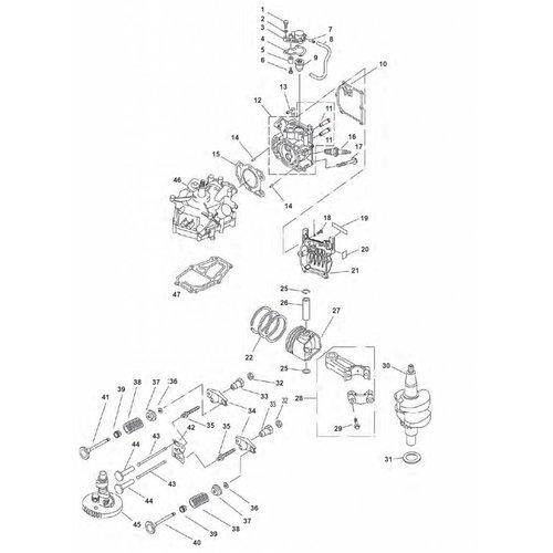 Yamaha F2.5 Blok + krukas onderdelen