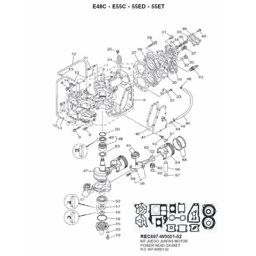 Yamaha 48 / 55 / 60 HP 2-stroke 2 Cylinder Engine Block + Crankshaft Parts