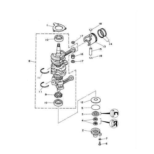 Yamaha 25 / 30 / 40 / 50 pk 2T 3cil krukas onderdelen