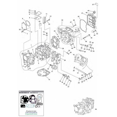 Yamaha / Mercury / Mariner F20 / F25 2cil 4T blok onderdelen (1)
