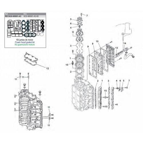 Yamaha 150 / 175 / 200 / 225 HP 2-stroke V6 Cyl Block Parts