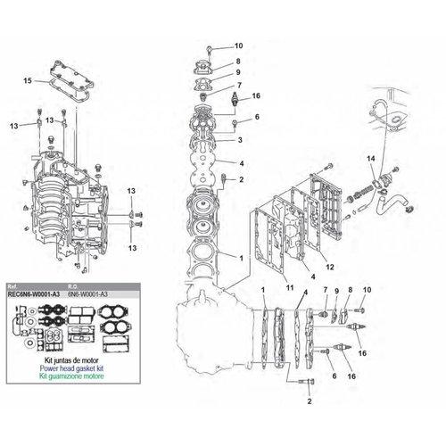 Yamaha 90 / 100 / 115 / 130 / 140 pk 2T V4 cil blok onderdelen