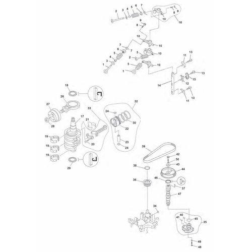 Yamaha/Mercury/Mariner F20 / F25 2cil 4T krukas onderdelen