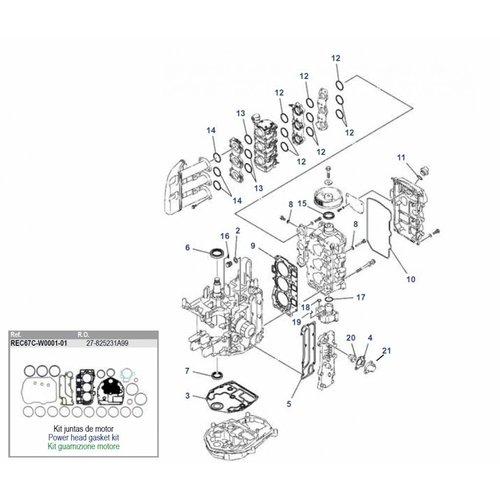 Yamaha / Mercury / Mariner F30 / F40 4T 3 cil blok onderdelen