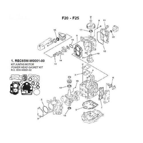 Yamaha / Mercury / Mariner  F20 / F25 2 Cyl 4-stroke Block Parts (2)