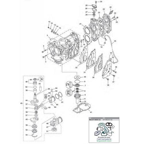 Yamaha 25 / 30 pk 2T 2cil Motorblok + krukas onderdelen