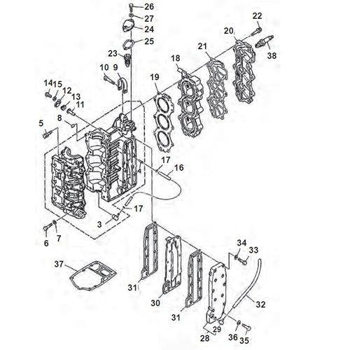 Yamaha 25 / 30 pk 2T 3cil 86+ blok onderdelen
