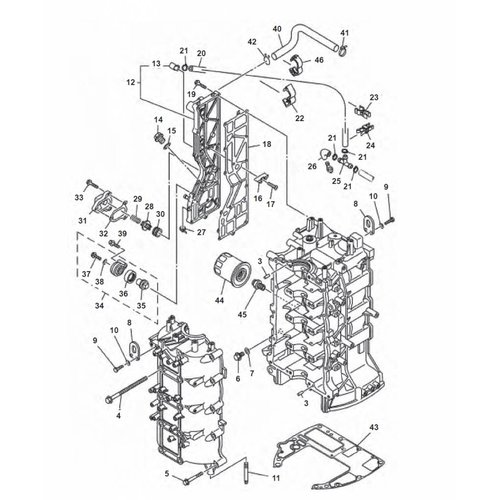 Yamaha F80 / F90 / F100 / F115 Engine Block Parts