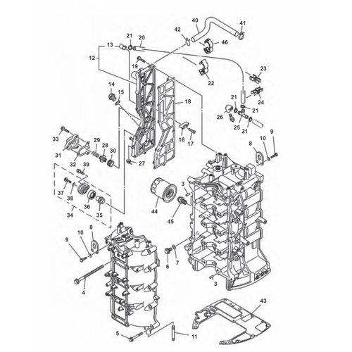 Yamaha F80 / F90 / F100 / F115 motor blok onderdelen