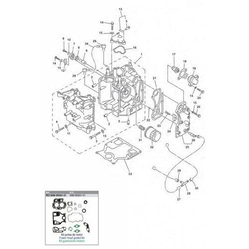 Yamaha / Mercury / Mariner F9.9 / F15 (99-07) blok onderdelen (1)
