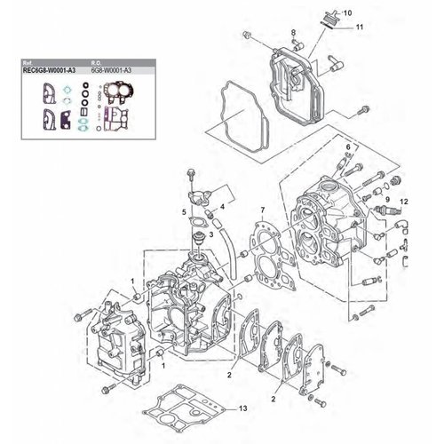 Yamaha / Mercury / Mariner F8 / F9,9 4-stroke ('85-'99) Engine Block Parts