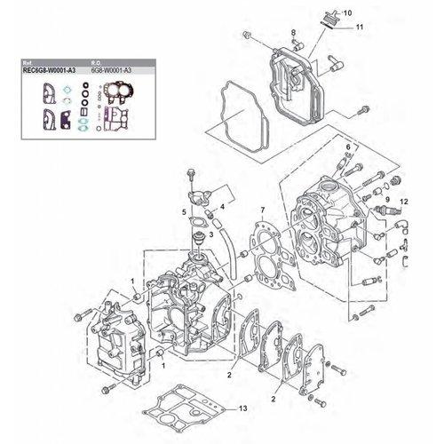 Yamaha / Mercury /Mariner F8 / F9,9 4T (85-99) Blok onderdelen