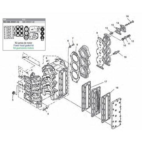 Yamaha 75 pk / 85 pk 2-takt motorblok onderdelen