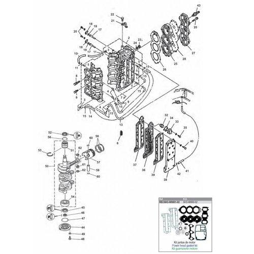 Yamaha 50 / 60 / 70 pk 2T 3cil blok onderdelen