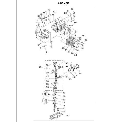 Yamaha / Mariner 4 pk / 5 pk 2-takt blok onderdelen