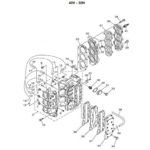 Yamaha 25 / 30 / 40 / 50 pk 2T 3cil blok onderdelen